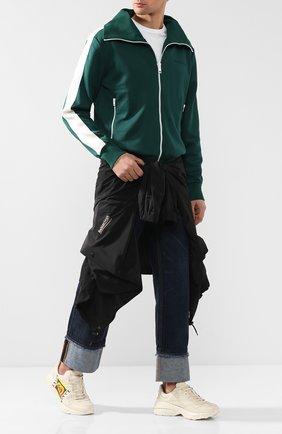 Мужские кожаные кроссовки rhyton GUCCI кремвого цвета, арт. 500878/DRW00 | Фото 2