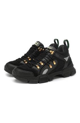 Мужские комбинированные кроссовки flashtrek GUCCI черного цвета, арт. 543149/GGZ80 | Фото 1