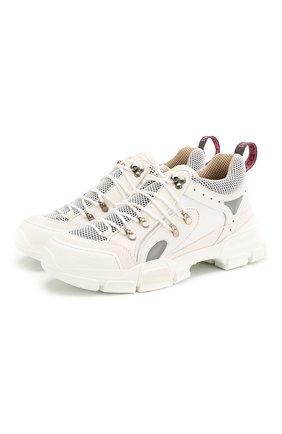 Мужские комбинированные кроссовки flashtrek GUCCI белого цвета, арт. 543162/GGZ80 | Фото 1