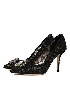 Женская текстильные туфли rainbow lace DOLCE & GABBANA черного цвета, арт. CD0101/AL198 | Фото 1
