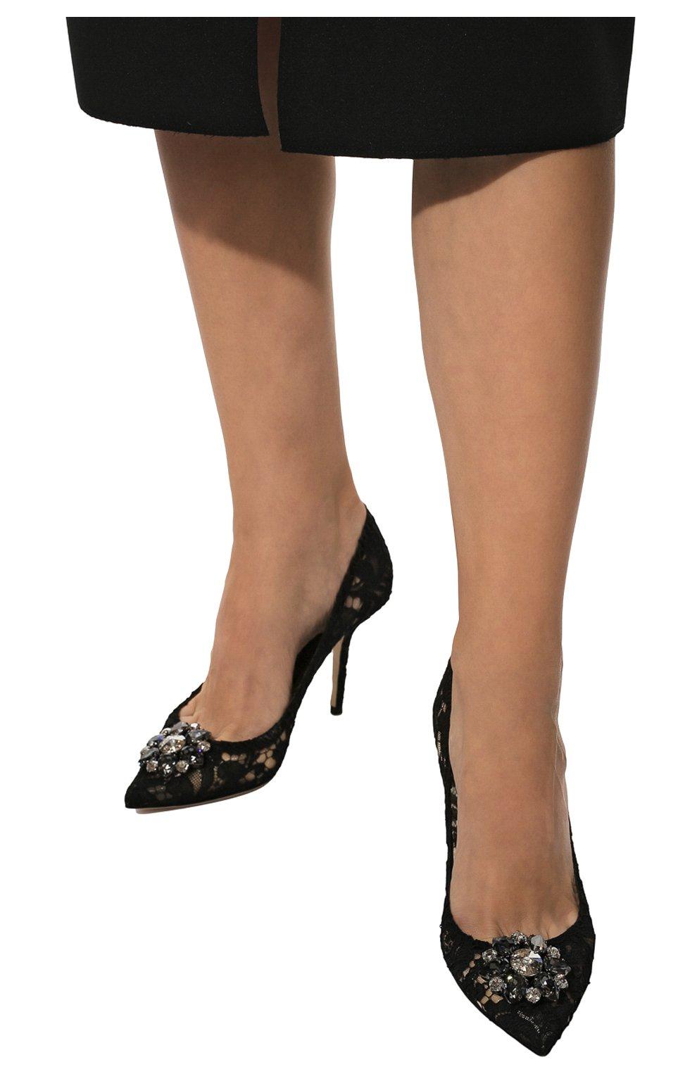 Кружевные туфли Rainbow Lace Dolce & Gabbana черные | Фото №3