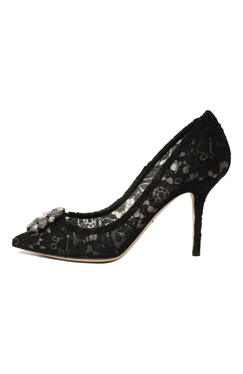 Кружевные туфли Rainbow Lace Dolce & Gabbana черные | Фото №4