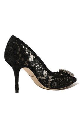 Кружевные туфли Rainbow Lace Dolce & Gabbana черные | Фото №5