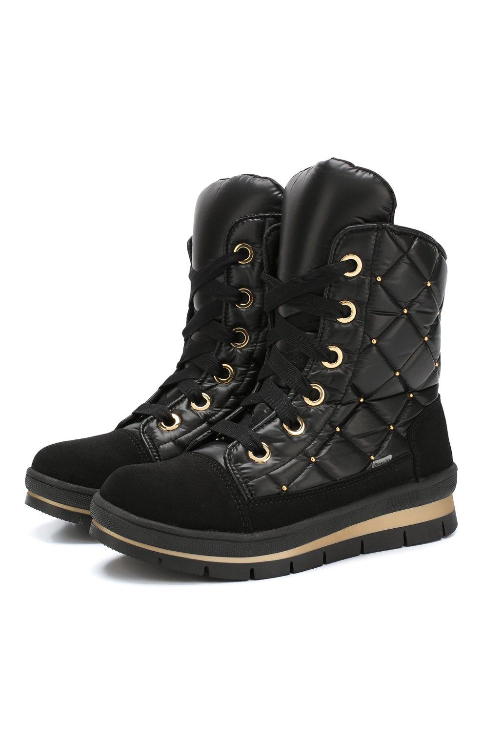 Утепленные комбинированные ботинки   Фото №1