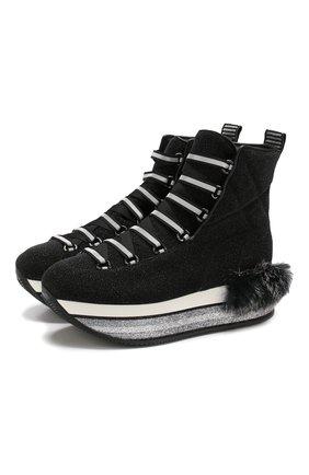 Текстильные кроссовки с глиттером Hogan черные | Фото №1