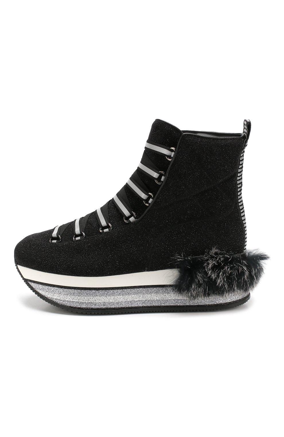 Текстильные кроссовки с глиттером Hogan черные | Фото №3