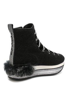 Текстильные кроссовки с глиттером Hogan черные | Фото №4