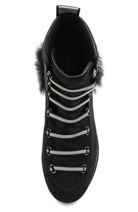Текстильные кроссовки с глиттером Hogan черные | Фото №5