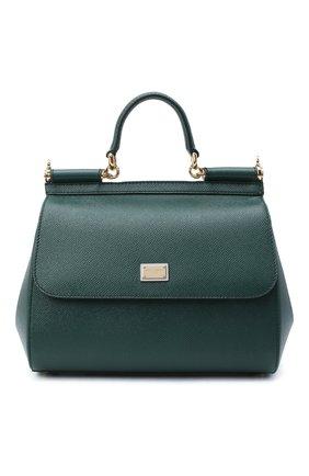 Женская сумка sicily medium DOLCE & GABBANA темно-зеленого цвета, арт. BB6002/A1001   Фото 1 (Материал: Натуральная кожа; Сумки-технические: Сумки top-handle; Ремень/цепочка: На ремешке; Размер: medium)