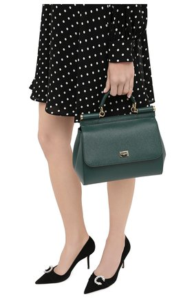 Женская сумка sicily medium DOLCE & GABBANA темно-зеленого цвета, арт. BB6002/A1001   Фото 2 (Материал: Натуральная кожа; Сумки-технические: Сумки top-handle; Ремень/цепочка: На ремешке; Размер: medium)