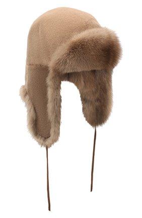 Мужская меховая шапка-ушанка мишка FURLAND коричневого цвета, арт. 0017107450115300000   Фото 1