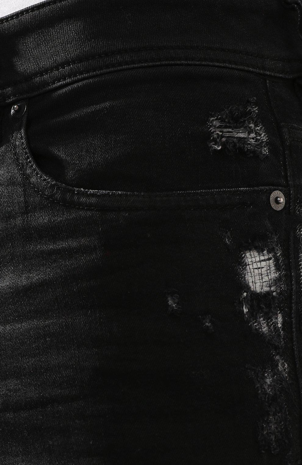 Джинсы-скинни с потертостями Diesel черные | Фото №5
