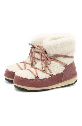 Замшевые ботинки Yves Salomon x Moon Boot с отделкой из овчины | Фото №1