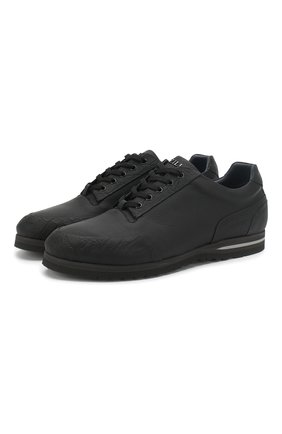 Мужские кожаные кроссовки на шнуровке с отделкой из кожи каймана ZILLI черного цвета, арт. T033/002/CCR0 | Фото 1
