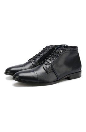 Мужские кожаные ботинки на молнии ZILLI темно-синего цвета, арт. MDQ-B021/003 | Фото 1