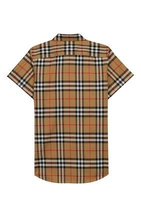Детская хлопковая рубашка BURBERRY бежевого цвета, арт. 8002633 | Фото 2