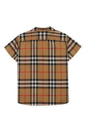 Детский хлопковая рубашка BURBERRY бежевого цвета, арт. 8002639 | Фото 2