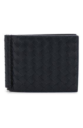Мужской кожаный зажим для купюр с плетением intrecciato BOTTEGA VENETA темно-синего цвета, арт. 123180/V4651 | Фото 1