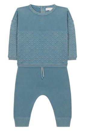 Детский комплект из хлопкового пуловера и брюк BURBERRY голубого цвета, арт. 8006670 | Фото 1