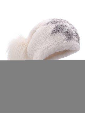 Женская шапка из меха норки с помпоном из лисы KUSSENKOVV кремвого цвета, арт. 050751744207 | Фото 1 (Материал: Натуральный мех; Статус проверки: Проверена категория)