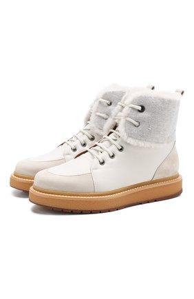 Комбинированные ботинки Elmira Walk с внутренней отделкой из меха нутрии | Фото №1