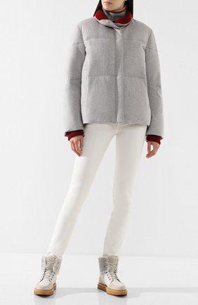 Женские комбинированные ботинки elmira walk с внутренней отделкой из меха нутрии LORO PIANA светло-серого цвета, арт. FAI3418 | Фото 2