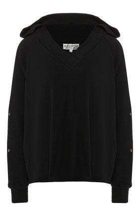 Хлопковый пуловер с капюшоном   Фото №1