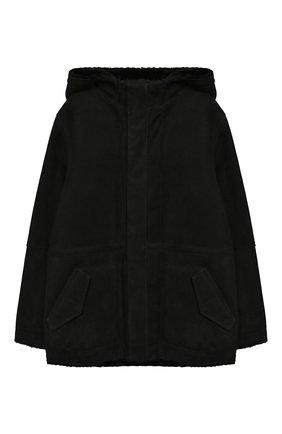 Детская дубленка с капюшоном YVES SALOMON ENFANT черного цвета, арт. 9WEV908XXMERL/8-12 | Фото 1