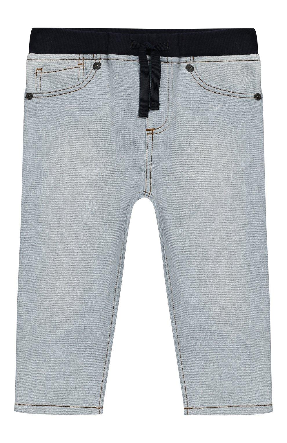 Детские джинсы с поясом на кулиске BURBERRY голубого цвета, арт. 8007463 | Фото 1