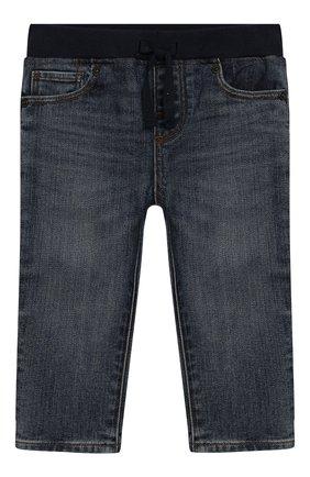 Детские джинсы с поясом на кулиске BURBERRY синего цвета, арт. 8007464 | Фото 1
