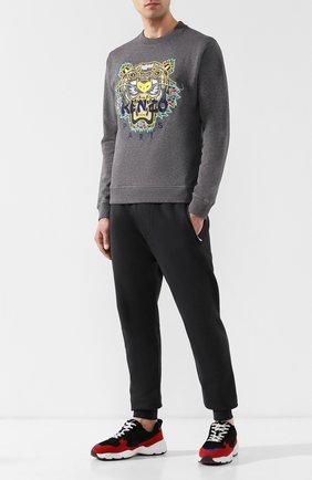 Мужской хлопковый свитшот с вышивкой KENZO серого цвета, арт. 5SW0894XU | Фото 2