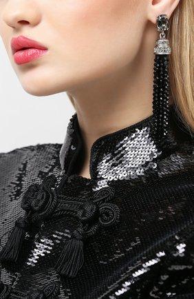 Женские серьги-клипсы OSCAR DE LA RENTA черного цвета, арт. 0J106BLD | Фото 2