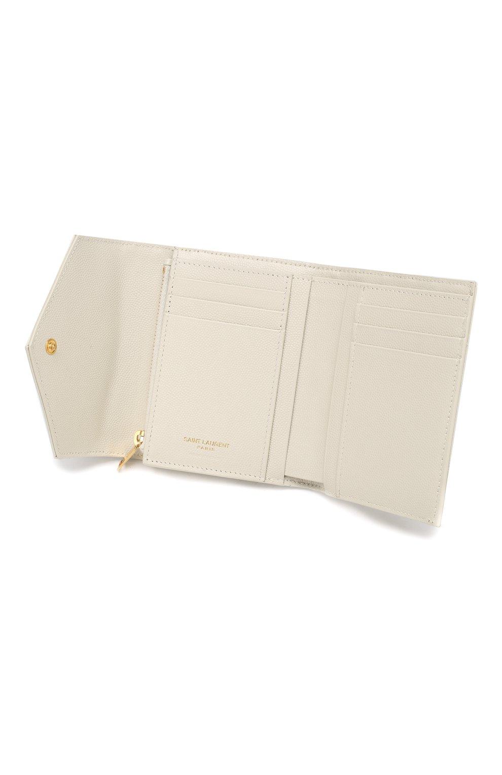 Кожаное портмоне Monogram Saint Laurent белого цвета | Фото №3