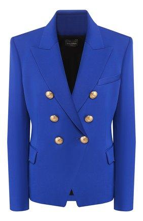 Женский шерстяной жакет BALMAIN синего цвета, арт. 147271/167L | Фото 1