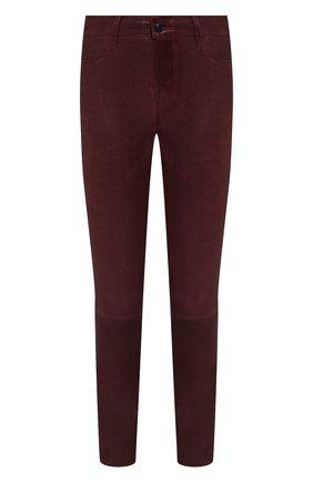 Женские кожаные брюки J BRAND бордового цвета, арт. L8001/G | Фото 1