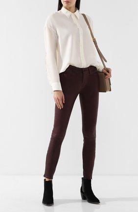 Женские кожаные брюки J BRAND бордового цвета, арт. L8001/G | Фото 2
