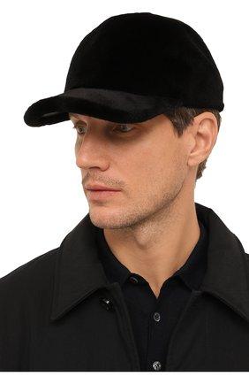 Мужской норковая бейсболка KUSSENKOVV черного цвета, арт. 381510002140 | Фото 2
