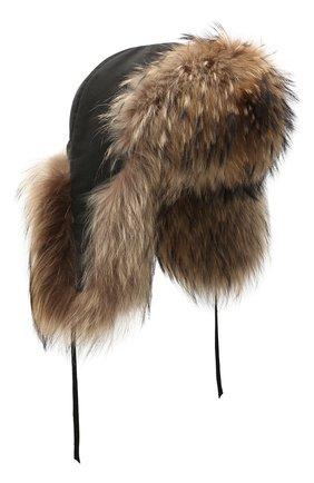 Мужская шапка-ушанка с отделкой из меха енота FURLAND коричневого цвета, арт. 0001100110003600037   Фото 1