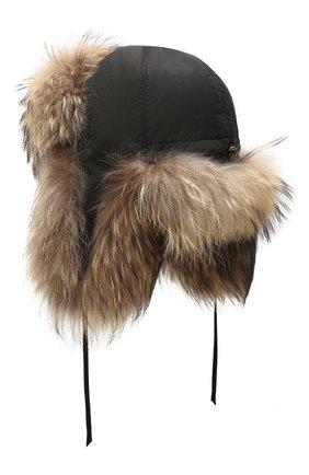Мужская шапка-ушанка с отделкой из меха енота FURLAND коричневого цвета, арт. 0001100110003600037   Фото 2