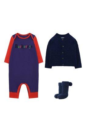 Детского комплект из кашемирового кардигана и комбинезона с носками BURBERRY синего цвета, арт. 8003756 | Фото 1