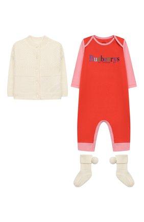 Детского комплект из кашемирового кардигана и комбинезона с носками BURBERRY розового цвета, арт. 8003941 | Фото 1