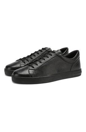 Мужские кожаные кеды на шнуровке MORESCHI черного цвета, арт. Z90042925/IBIZA 2 | Фото 1