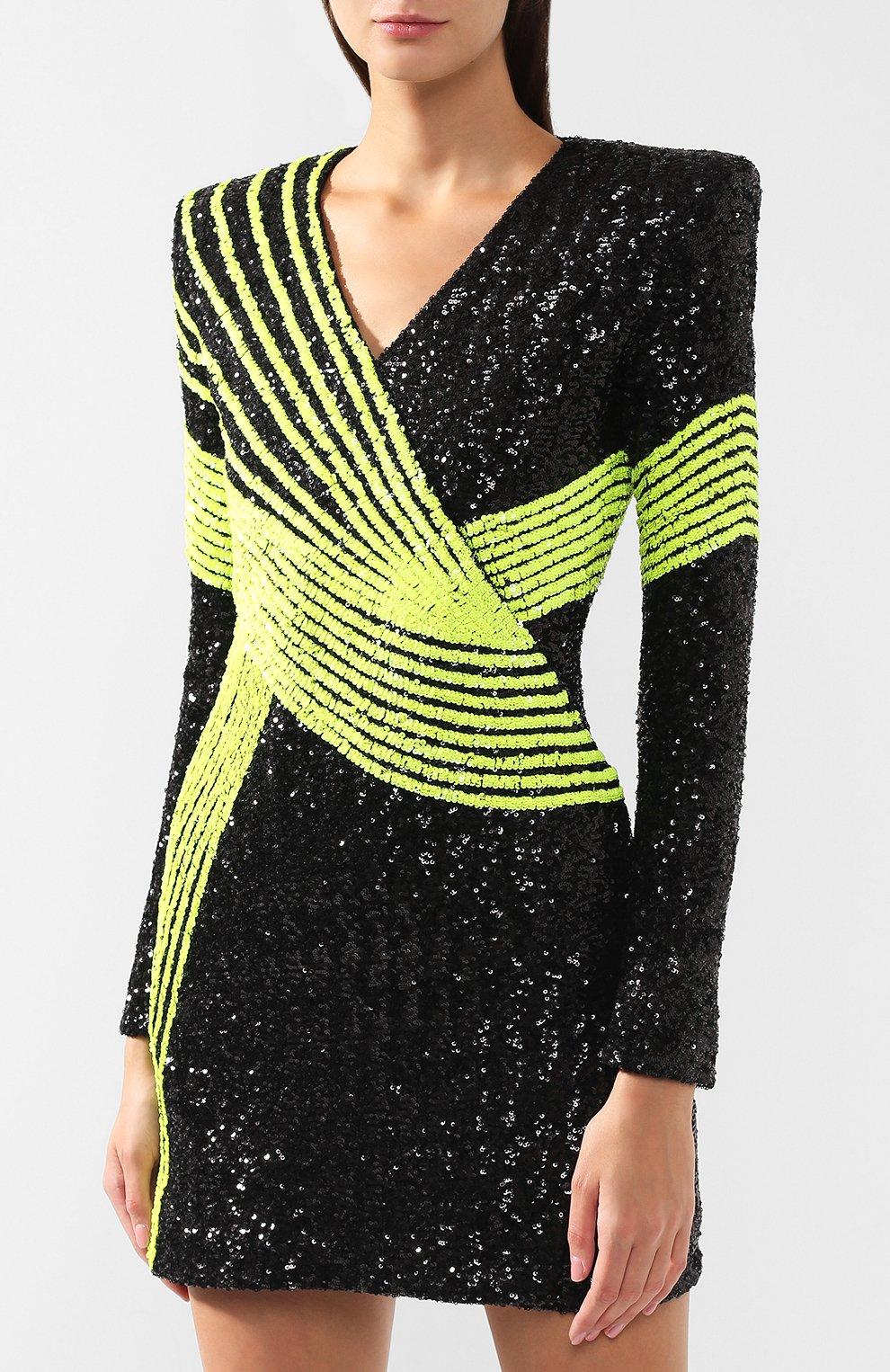 bf671043f Женское черное мини-платье с пайетками BALMAIN — купить за 326500 ...