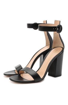 Женские кожаные босоножки versilia GIANVITO ROSSI черного цвета, арт. G60379.00RIC.NAPNER0   Фото 1