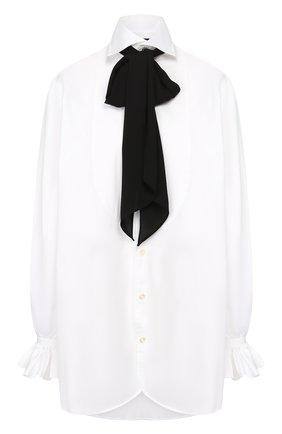 Хлопковая блузка с бантом | Фото №1