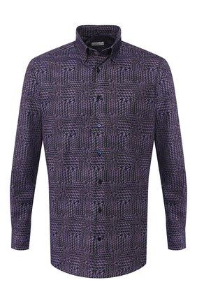 Мужская хлопковая рубашка с воротником кент ZILLI фиолетового цвета, арт. MFQ-11404-46103/RZ01 | Фото 1 (Материал внешний: Хлопок; Длина (для топов): Стандартные; Рукава: Длинные; Статус проверки: Проверено; Случай: Повседневный; Воротник: Кент)