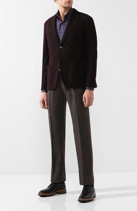 Мужская хлопковая рубашка с воротником кент ZILLI фиолетового цвета, арт. MFQ-11404-46103/RZ01 | Фото 2 (Материал внешний: Хлопок; Длина (для топов): Стандартные; Рукава: Длинные; Статус проверки: Проверено; Случай: Повседневный; Воротник: Кент)