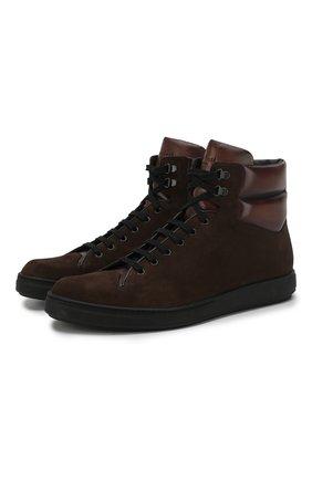 Мужские замшевые кеды на шнуровке BERLUTI темно-коричневого цвета, арт. S4616-001 | Фото 1