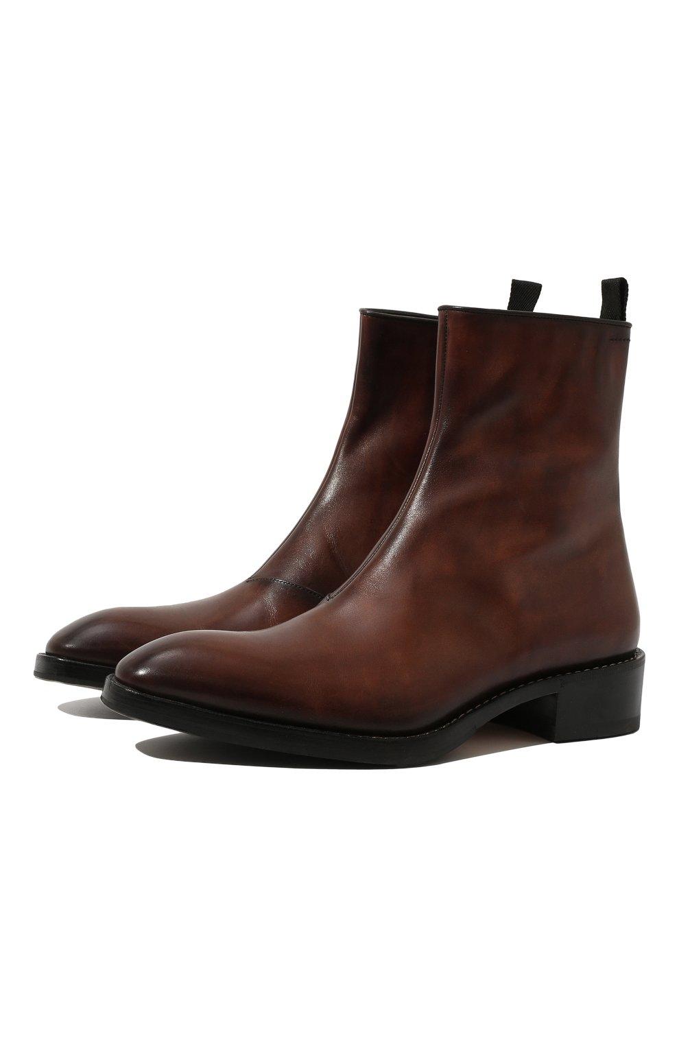 Мужские кожаные сапоги на молнии BERLUTI темно-коричневого цвета, арт. S4619-001 | Фото 1 (Статус проверки: Проверено, Проверена категория; Подошва: Плоская; Мужское Кросс-КТ: Сапоги-обувь)