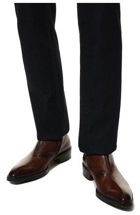 Мужские кожаные сапоги на молнии BERLUTI темно-коричневого цвета, арт. S4619-001 | Фото 3 (Статус проверки: Проверено, Проверена категория; Подошва: Плоская; Мужское Кросс-КТ: Сапоги-обувь)